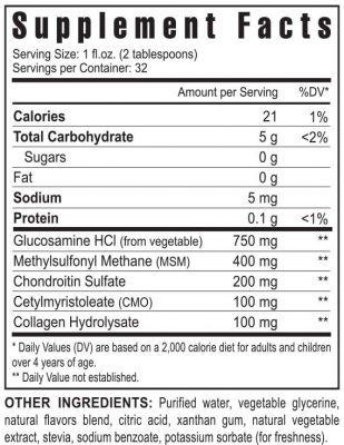 Liquid Gluco-Gel supplement facts