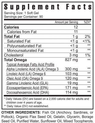 Ulitmate EFA Plus supplement facts