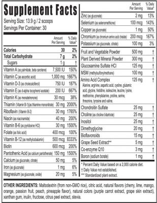 Beyond Tangy Tangerine Original supplement facts