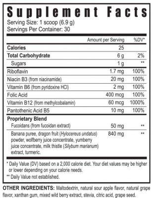 ZRadica powder supplement facts